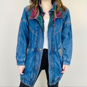 VINTAGE Denim Parka Jacket M Western Jean 80's